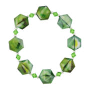 Green Glass Faceted Bead Stretch Bracelet