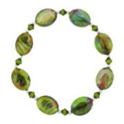 Green Multi Glass Oval Bead Stretch Bracelet