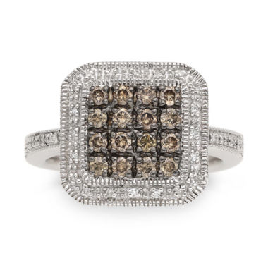 jcpenney.com | LIMITED QUANTITIES 1/2 CT. T W. White and Color-Enhanced Champagne Diamond Sterling Silver Ring