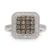 CLOSEOUT! 1/2 CT. T W. White and Color-Enhanced Champagne Diamond Sterling Silver Ring