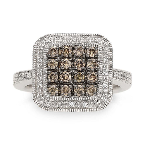 LIMITED QUANTITIES 1/2 CT. T W. White and Color-Enhanced Champagne Diamond Sterling Silver Ring