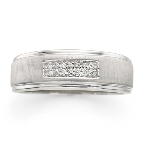 LIMITED QUANTITIES! Mens Diamond Accent 2-Row Wedding Band in 10K White Gold