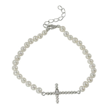 jcpenney.com | Cultured Freshwater Pearl Sparkle Bead Sideways Cross Bracelet