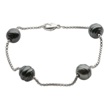 jcpenney.com | Black Tahitian Pearl & Sparkle Bead Station Bracelet