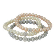 Sterling Silver Cultured Pearl & Crystal 3-pc. Bracelet Set