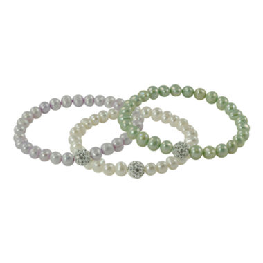 jcpenney.com | Sterling Silver Cultured Pearl & Crystal 3-pc. Bracelet Set