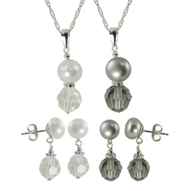 jcpenney.com | Cultured Freshwater Pearl & Crystal 4-pc. Set