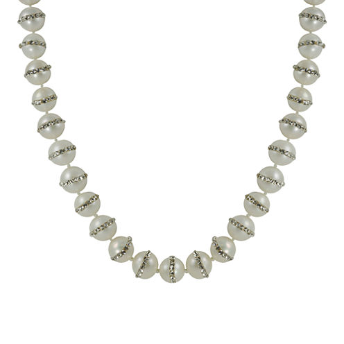 Cultured Freshwater Pearl & Crystal  Accent Necklace