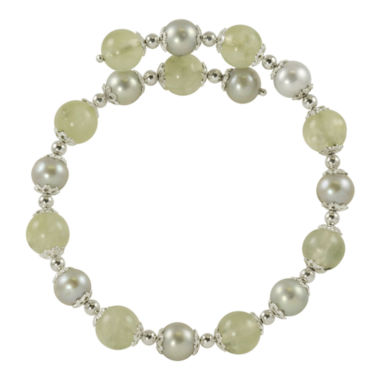 jcpenney.com | Gray Cultured Freshwater Pearl & Green Prehnite Bracelet