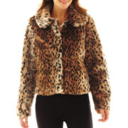 Excelled Leather Short Faux-Fur Jacket