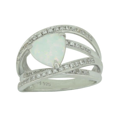jcpenney.com | Lab-Created Opal & White Sapphire Sterling Silver Crossover Ring