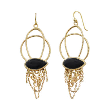 jcpenney.com | Art Smith by BARSE Onyx & Gold-Tone Chain Earrings