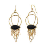 Art Smith by BARSE Onyx & Gold-Tone Chain Earrings