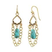 Art Smith by BARSE Turquoise & Chain Drop Earrings