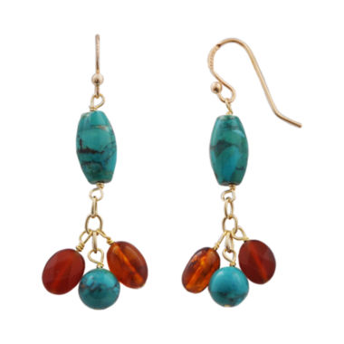 jcpenney.com | Art Smith by BARSE Turquoise & Amber Cluster Earrings