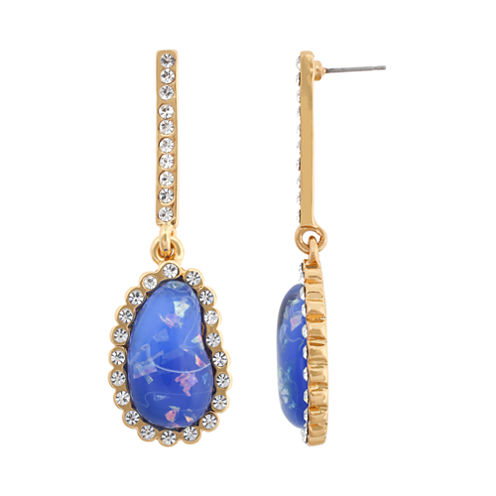 10021 | Kara Ross Crystal & Blue Resin Earrings