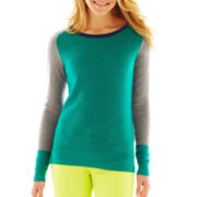 jcp™ Thermal Colorblock Elbow-Patch Sweater