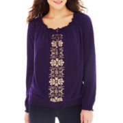 St. John's Bay® Embroidered Peasant Top