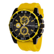 AIRWALK® Mens Yellow and Black Silicone Watch
