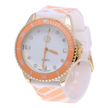 jcpenney.com | Womens Macbeth Orange and White Silicone Watch