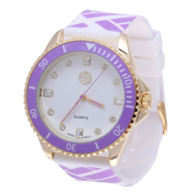 jcpenney.com | Womens Macbeth Purple and White Silicone Watch