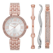 Liz Claiborne® Womens Crystal-Accent Rose-Tone Watch and 3 Bangles