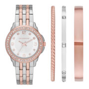 Liz Claiborne® Womens Crystal-Accent Two-Tone Watch and 3 Bangles