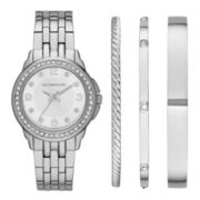 Liz Claiborne® Womens Crystal-Accent Silver-Tone Watch and 3 Bangles