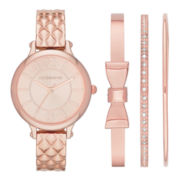 Liz Claiborne® Womens Rose-Tone Quilted Watch and 3 Bangles