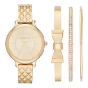 Liz Claiborne® Womens Gold-Tone Quilted Watch and 3 Bangles