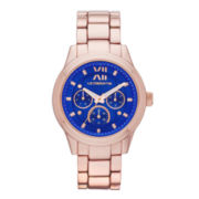 Liz Claiborne® Womens Rose-Tone Blue Watch