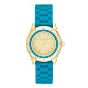 Liz Claiborne® Womens Blue and Gold-Tone Bumpy Silicone Watch