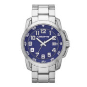 Claiborne® Mens Silver-Tone Blue Dial Watch