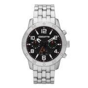 Claiborne® Mens Silver-Tone Black Dial Strap Watch