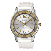 Casio® Womens Gold-Tone Bezel White Resin Strap