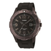 Casio® Mens Black/Brown Dial Black Resin Strap Watch MTD1073-1A1V