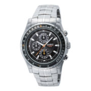 Casio® Mens Stainless Steel Aviator-Style Chronograph Watch