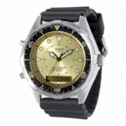 Casio® Mens Champagne Dial Black Resin Strap Analog/Digital Watch AMW320D-9EV