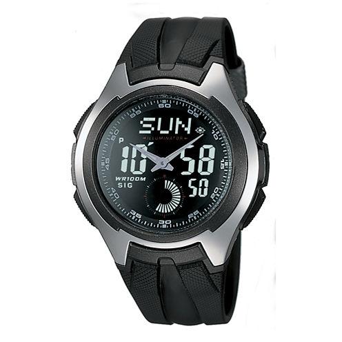 Casio® Mens Black Resin Strap Analog/Digital Watch AQ160W-1BV