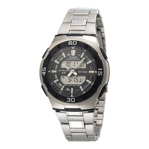 Casio® Active Dial Mens Stainless Steel Analog/Digital Watch AQ164WD-1AV