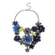 Mixit™ Dark Blue Hematite Flower Bib Necklace