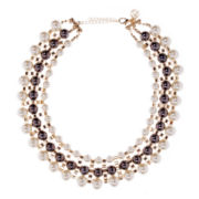 Gemma Simone™ Simulated Pearl & Gray Stone Multi-Row Gold-Tone Necklace
