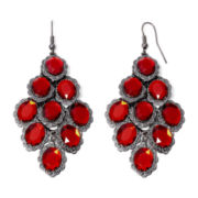 Decree® Red Faceted Stone Chandelier Earrings