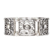 Arizona Silver-Tone Flower Cutout Stretch Bracelet