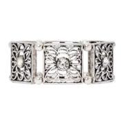 Arizona Silver-Tone Flower Cutout Stretch Bracelet