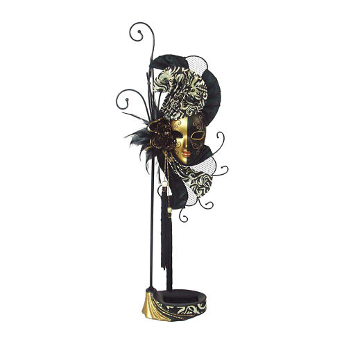 Mardi Gras Mask Black & Gold Jewelry Stand Organizer