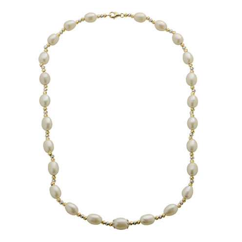 Cultured Freshwater Rice Pearl & 2-Tone Brilliance Bead Necklace