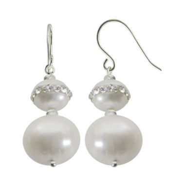 jcpenney.com | Cultured Freshwater Pearl & Crystal Orbit Double-Drop Sterling Silver Earrings