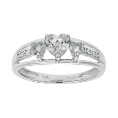 jcpenney.com | Genuine White Topaz & Diamond-Accent Heart-Shaped 3-Stone 10K White Gold Ring