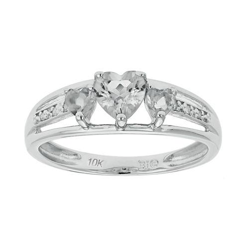 Genuine White Topaz & Diamond-Accent Heart-Shaped 3-Stone 10K White Gold Ring